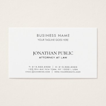 Lawyer Themed Attorney At Law Lawyer Modern Elegant White Simple Business Card