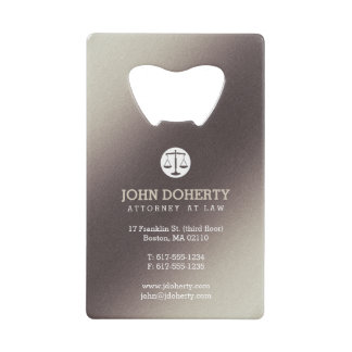 Attorney at Law | Lawyer's contact info Credit Card Bottle Opener