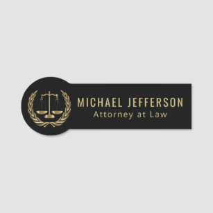 Attorney at Law - Logo - Black and Gold Name Tag