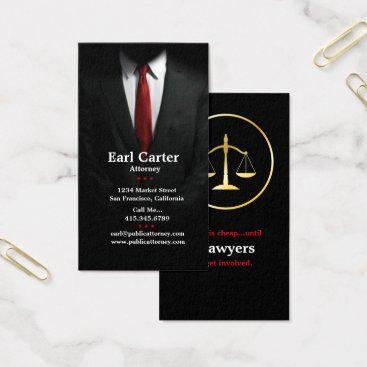 Lawyer Themed Attorney at Law Men's Suit Red Tie Business Cards