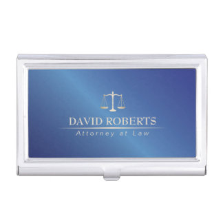 Attorney at Law Metal Blue Lawyer Elegant Business Card Holder
