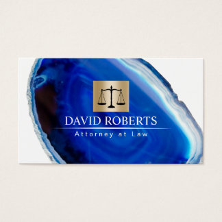 Attorney at Law Modern Blue Agate Stone Lawyer Business Card