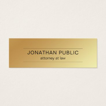 Lawyer Themed Attorney At Law Office Modern Gold Look Elegant Mini Business Card