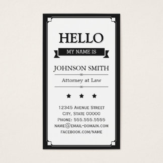 Attorney at Law - Retro Hello My Name Is Business Card