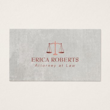 Lawyer Themed Attorney at Law Rose Gold Scale Lawyer Business Card