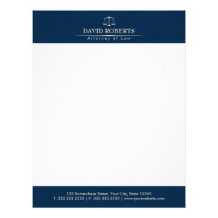 Attorney At Law Royal Blue Gold Scale Lawyer Letterhead at Zazzle