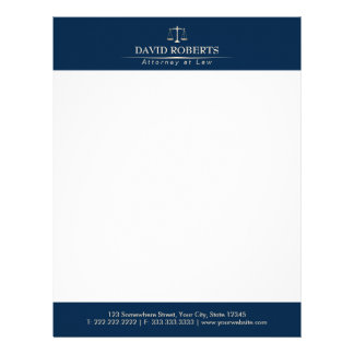 Attorney at Law Royal Blue Gold Scale Lawyer Letterhead