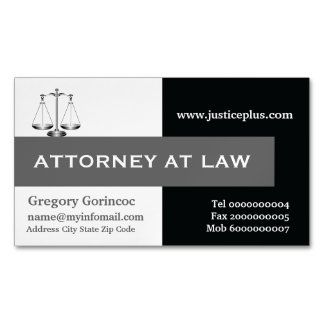 Attorney at law scale of justice grey, black business card magnet