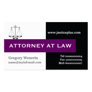 Attorney at law scale of justice purple, black Double-Sided standard business cards (Pack of 100)