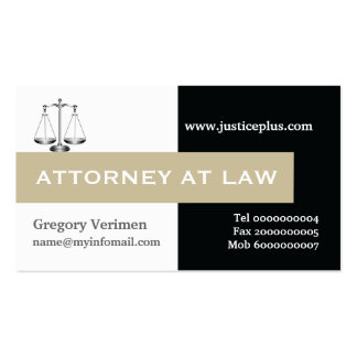 Attorney at law scale of justice taupe, black business card
