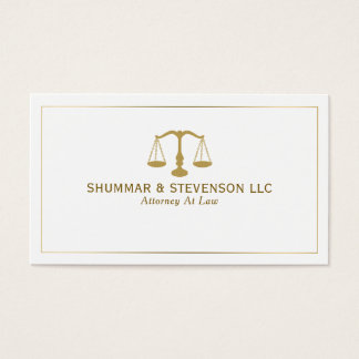 Attorney At Law-Simple Gold Scale & Border Business Card