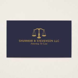 Attorney At Law-Simple Gold Scale On Blue Business Card