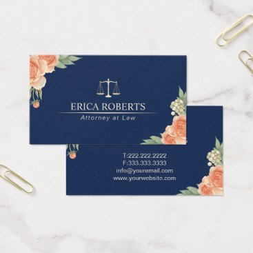 Lawyer Themed Attorney at Law Vintage Floral Navy Blue Lawyer Business Card