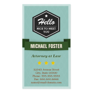 Attorney at Law - Vintage Style Hello Business Card Templates