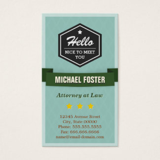 Attorney at Law - Vintage Style Hello Business Card