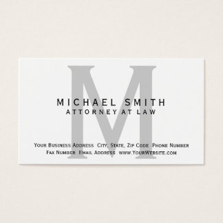 Attorney at Law White Grey Minimal Business Card