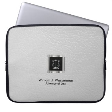 Lawyer Themed Attorney at Law White Leather Laptop Sleeve