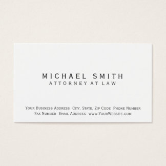Attorney at Law White Simple Minimal Business Card