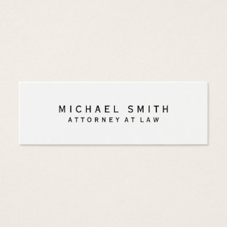 Attorney at Law White Simple Minimalist Mini Business Card