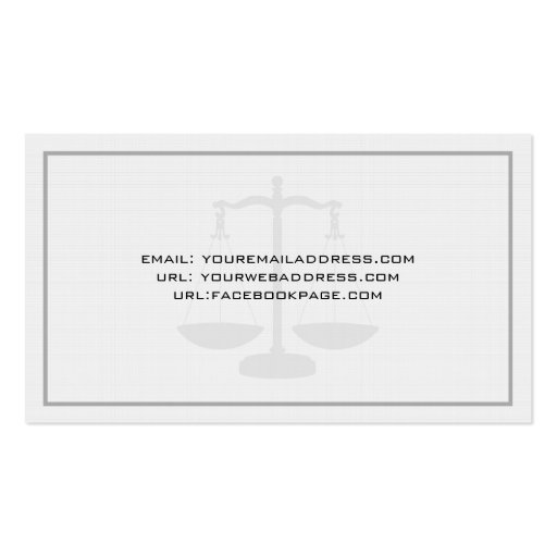 Attorney At Low Office Simple Linen  Texture Business Card Templates (back side)