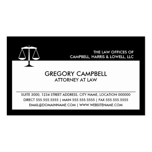 Attorney Black Business Cards