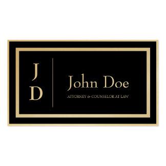 Attorney Black/Golden Borders Monogram Business Cards