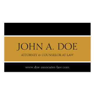 Attorney Black/Yellow Gold Banner Double-Sided Standard Business Cards (Pack Of 100)