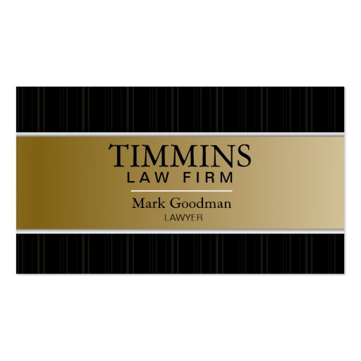 Attorney Business Card - Bold Banner Gold & Black