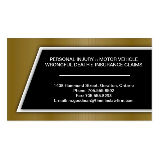 Attorney Business Card - Stylish Gold & Black (back side)