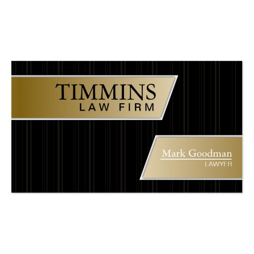 Attorney Business Card - Stylish Gold & Black
