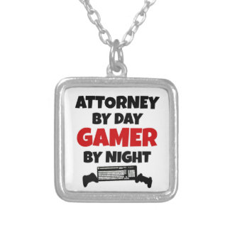 Attorney by Day Gamer by Night Square Pendant Necklace