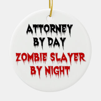 Attorney by Day Zombie Slayer by Night Double-Sided Ceramic Round Christmas Ornament