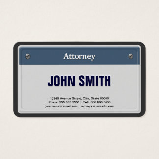 Attorney Cool Car License Plate Business Card
