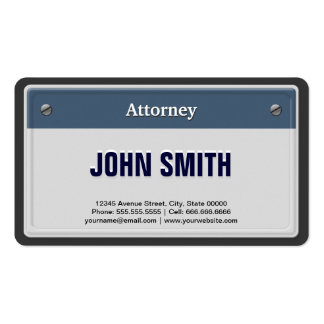 Attorney Cool Car License Plate Double-Sided Standard Business Cards (Pack Of 100)
