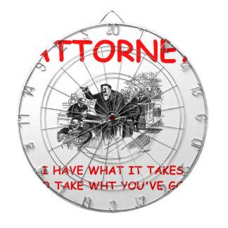 attorney dartboard with darts