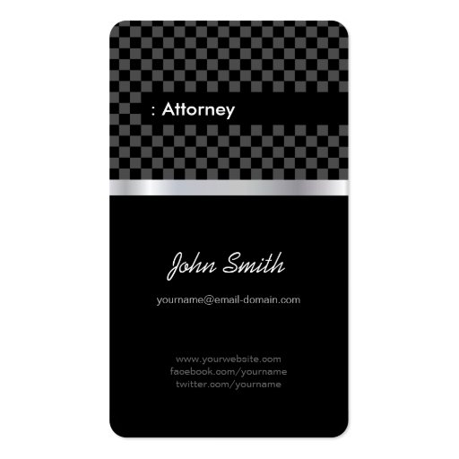 Attorney - Elegant Black Checkered Business Card Templates