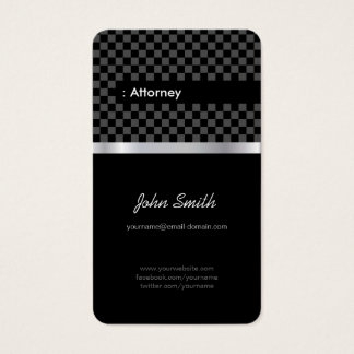 Attorney - Elegant Black Checkered Business Card