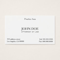 Attorney Elegant Clean Ii Business Card at Zazzle