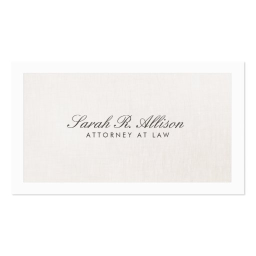 Attorney Faux Linen Elegant Light Beige Business Card