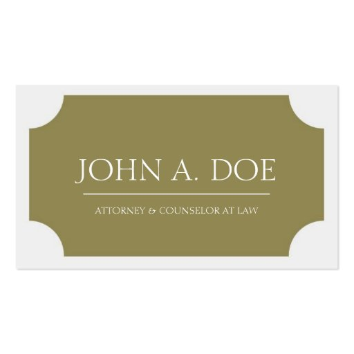 Attorney Gold Plaque/Classic White Business Card