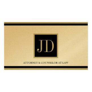 Attorney Golden Black/Tan Square Monogram Plaque Business Card