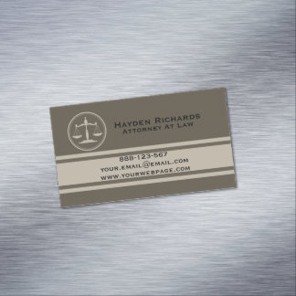 Attorney Justice Scales Lawyer Business Card Magnet