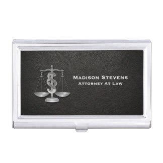 Attorney Justice Scales Lawyer Leather Business Card Holder