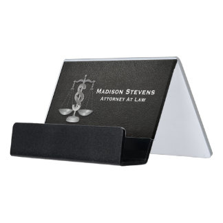 Attorney Justice Scales Lawyer Leather Desk Business Card Holder