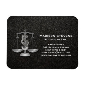 Attorney Justice Scales Lawyer Leather Magnet