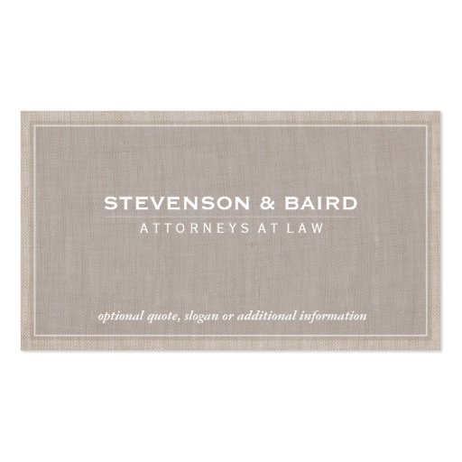 Attorney Law Office Linen Texture Elegant Classic Business Card Templates