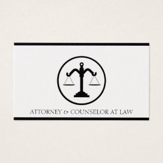 Attorney Lawyer Counselor Law Firm Office Scale Business Card