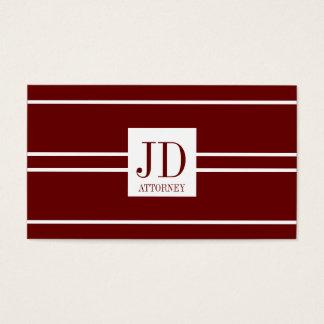 Attorney Lawyer Dark Cherry White Striped Pendant Business Card