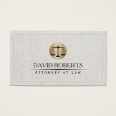 Attorney Lawyer Gold Law Scale Logo Elegant Linen Business Card at Zazzle