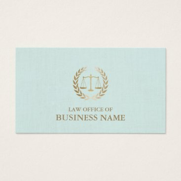 Lawyer Themed Attorney Lawyer Gold Scale of Justice Mint Linen Business Card